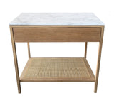 Davis Nightstand - Marble Top with Cane