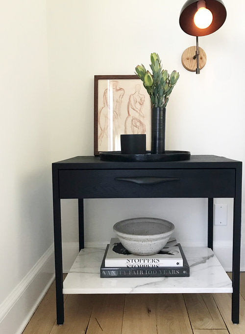 Davis Nightstand – Ebonized with White Marble