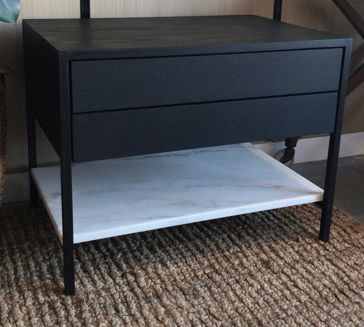 RESERED FOR MICHELLE (SHIPPING FE) - Ebonized 2-Drawer with Marble