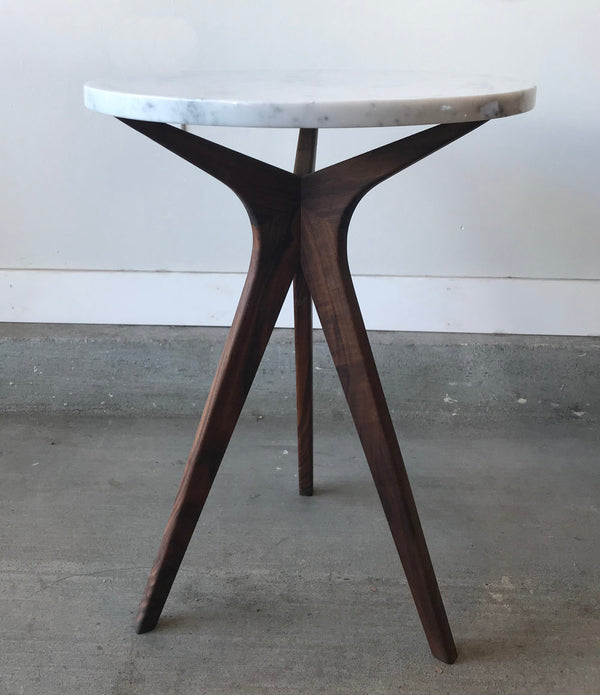 Hettricks Side Table – Walnut with Marble