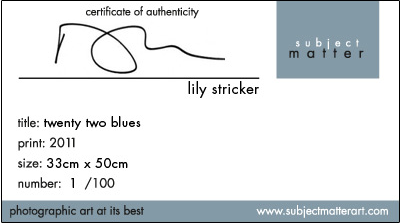 each photographic artwork comes with a signed authenticity certificate