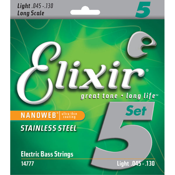 ELIXIR NANOWEB STAINLESS STEEL 5-STRING BASS STRINGS 45-130 MEDIUM-LIGHT