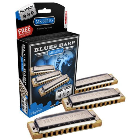 HOHNER MS SERIES - BLUES HARP HARMONICA 3 PACK KEYS OF C, G, A