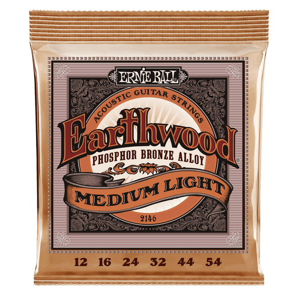 ERNIE BALL EARTHWOOD PHOSPHOR BRONZE ACOUSTIC GUITAR STRINGS 12-54 MEDIUM-LIGHT GAUGE