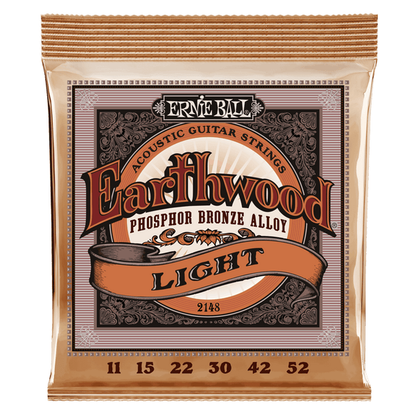 ERNIE BALL EARTHWOOD PHOSPHOR BRONZE ACOUSTIC GUITAR STRINGS 11-52 LIGHT GAUGE