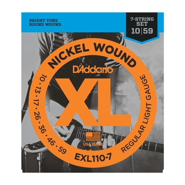 DADDARIO XL NICKEL WOUND 7-STRING ELECTRIC GUITAR STRINGS REGULAR LIGHT GAUGE 10-59