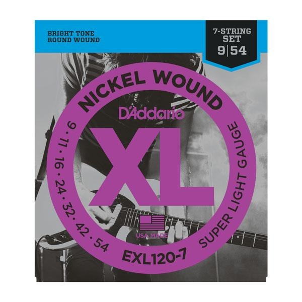 DADDARIO XL NICKEL WOUND 7-STRING ELECTRIC GUITAR STRINGS SUPER LIGHT GAUGE 09-54 - Arties Music Online