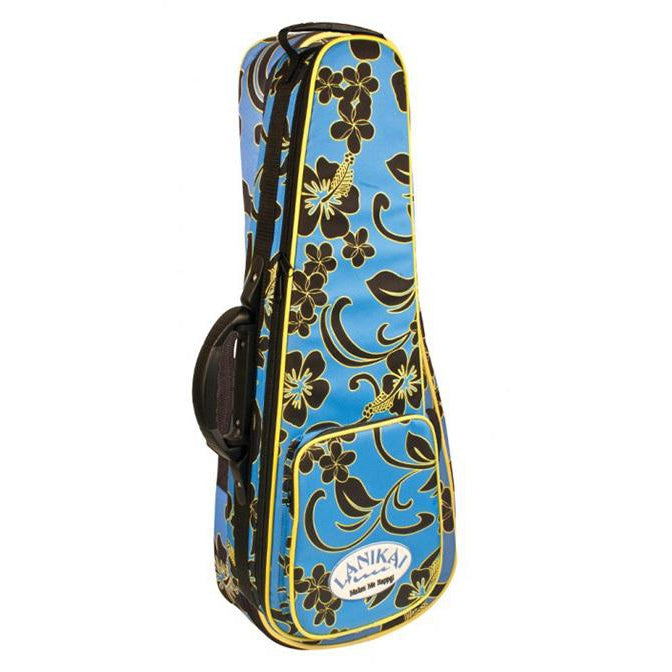 Lanikai Soprano Floral Ukulele Hard Foam Case with Back Pack Straps