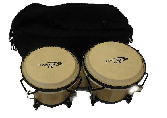 06 & 07 INCH WOOD BONGOS NATURAL W/BAG TUNEABLE