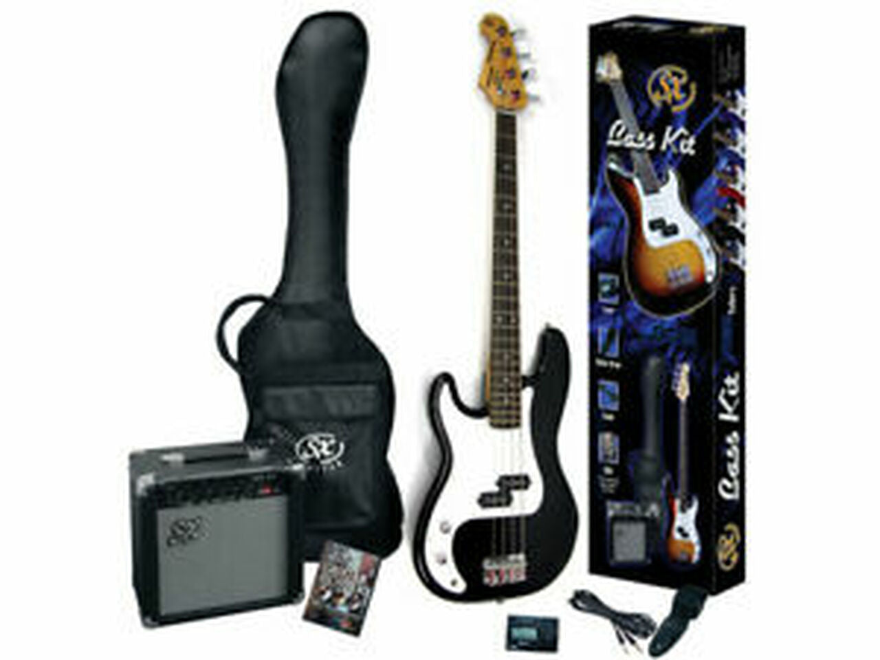 ESSEX LEFT-HANDED PB STYLE BASS GUITAR PACK - BLACK