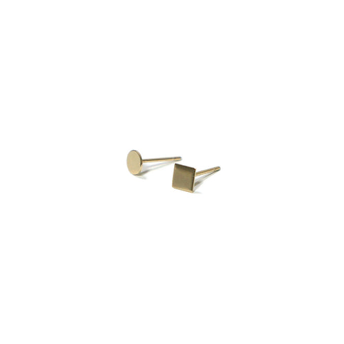 10K Solid Gold Earrings | Circle Square Shape Earrings | Mix and Match Earrings - A.pair Earrings_contemporary jewelry