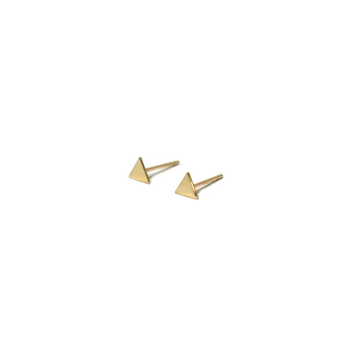 10K Solid Gold Tiny Earrings | Triangle Studs | Shape Earrings | Small Triangle - A.pair Earrings_contemporary jewelry