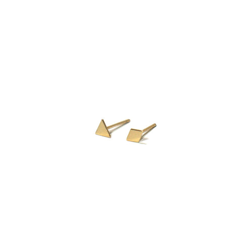 10K Solid Gold Earrings | Triangle Diamond Shape Earrings | Mix and Match Earrings - A.pair Earrings_contemporary jewelry