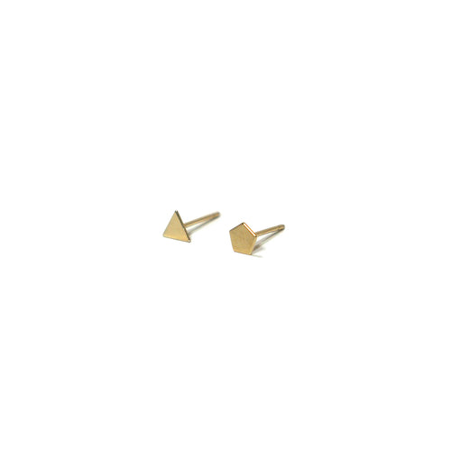 10K Solid Gold Earrings | Triangle Pentagon Shape Earrings | Mix and Match Earrings - A.pair Earrings_contemporary jewelry