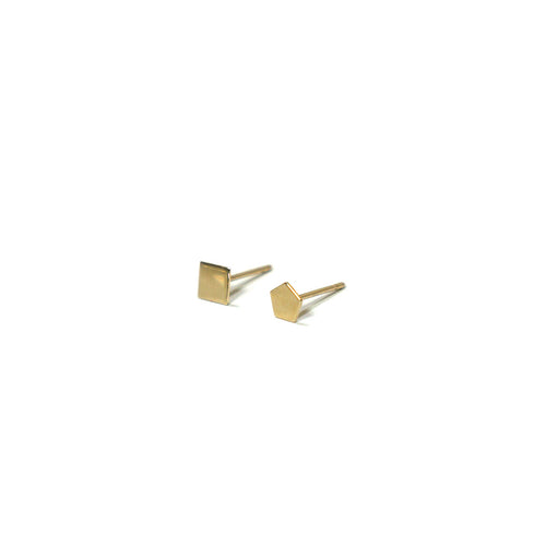 10K Solid Gold Earrings | Square Pentagon Shape Earrings | Mix and Match Earrings - A.pair Earrings_contemporary jewelry