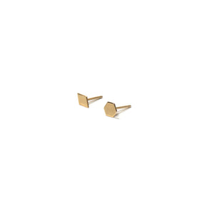 10K Solid Gold Earrings | Diamond Hexagon Shape Earrings | Mix and Match Earrings - A.pair Earrings_contemporary jewelry