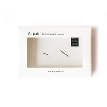 Load image into Gallery viewer, 10K Solid Gold Tiny Earrings | 10mm Thin Line Bar Studs - A.pair Earrings_contemporary jewelry