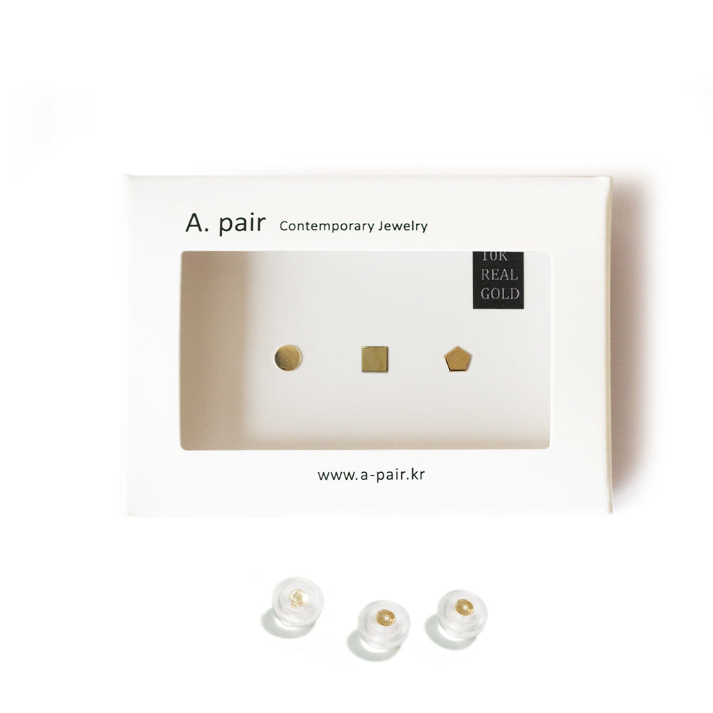 10K Solid Gold Earrings | Circle Square Pentagon Shape Earrings | Mix and Match Earrings - A.pair Earrings_contemporary jewelry