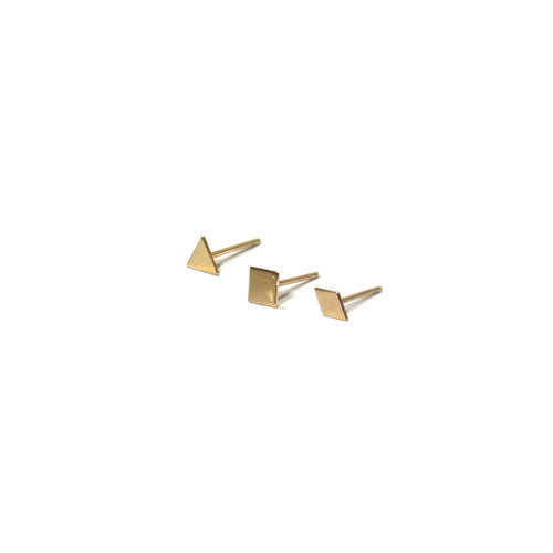 10K Solid Gold Earrings | Triangle Square Diamond Shape Earrings | Mix and Match Earrings - A.pair Earrings_contemporary jewelry