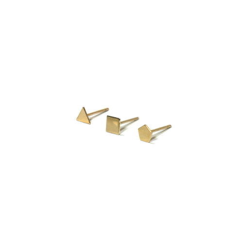 10K Solid Gold Earrings | Triangle Square Pentagon Shape Earrings | Mix and Match Earrings - A.pair Earrings_contemporary jewelry