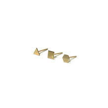 Load image into Gallery viewer, 10K Solid Gold Earrings | Triangle Square Hexagon Shape Earrings | Mix and Match Earrings - A.pair Earrings_contemporary jewelry