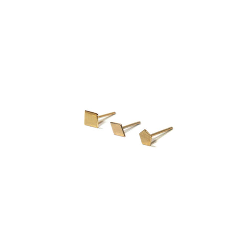 10K Solid Gold Earrings | Square Diamond Pentagon Shape Earrings | Mix and Match Earrings - A.pair Earrings_contemporary jewelry