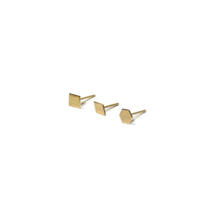 10K Solid Gold Earrings | Square Diamond Hexagon Shape Earrings | Mix and Match Earrings - A.pair Earrings_contemporary jewelry