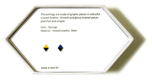 Enamel Leather Earrings _  2 colors _  yellow, deep blue, black - A.pair Earrings_contemporary jewelry