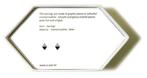 Enamel Leather Earrings _  2 colors _  silver, black - A.pair Earrings_contemporary jewelry