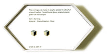 Load image into Gallery viewer, Enamel Leather Earrings _  3,4 colors _  silver, ivory, black - A.pair Earrings_contemporary jewelry