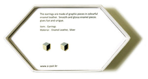 Enamel Leather Earrings _  3,4 colors _  silver, ivory, black - A.pair Earrings_contemporary jewelry