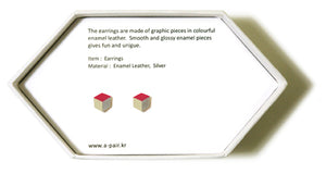 Enamel Leather Earrings _  3,4 colors _  pink, ivory, silver - A.pair Earrings_contemporary jewelry