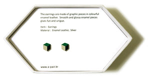 Enamel Leather Earrings _  3,4 colors _  green, ivory, black - A.pair Earrings_contemporary jewelry