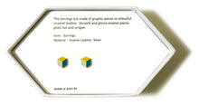 Load image into Gallery viewer, Enamel Leather Earrings _  3,4 colors _   yellow, ivory, teal - A.pair Earrings_contemporary jewelry