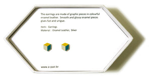 Enamel Leather Earrings _  3,4 colors _   yellow, ivory, teal - A.pair Earrings_contemporary jewelry
