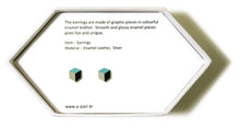 Load image into Gallery viewer, Enamel Leather Earrings _  3,4 colors _   mint, ivory, black - A.pair Earrings_contemporary jewelry