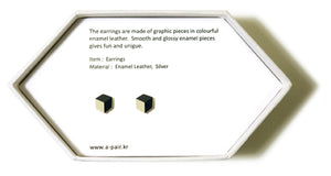 Enamel Leather Earrings _  3,4 colors _  gray, ivory, dark navy - A.pair Earrings_contemporary jewelry