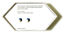 Load image into Gallery viewer, Enamel Leather Earrings _  3,4 colors _  deep blue, ivory, black - A.pair Earrings_contemporary jewelry