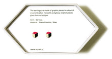 Load image into Gallery viewer, Enamel Leather Earrings _  3,4 colors _  pink, ivory, black - A.pair Earrings_contemporary jewelry