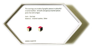 Enamel Leather Earrings _  3,4 colors _  pink, ivory, black - A.pair Earrings_contemporary jewelry