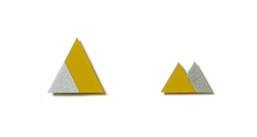 Enamel Leather Earrings _  2 colors _  yellow, silver - A.pair Earrings_contemporary jewelry