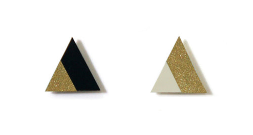 Enamel Leather Earrings _  2 colors _  gold, ivory, black - A.pair Earrings_contemporary jewelry