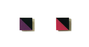 Enamel Leather Earrings _  2 colors _  violet, pink, black - A.pair Earrings_contemporary jewelry