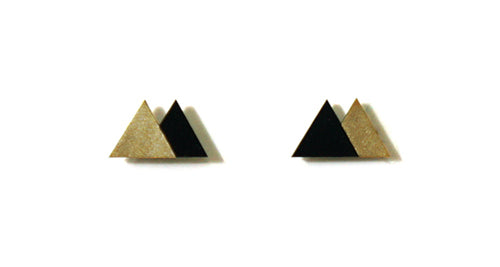 Enamel Leather Earrings _  2 colors _  gold, black - A.pair Earrings_contemporary jewelry