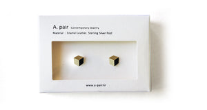 Enamel Leather Earrings, gold, ivory, black