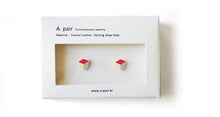 Load image into Gallery viewer, Enamel Leather Earrings, pink, ivory, silver
