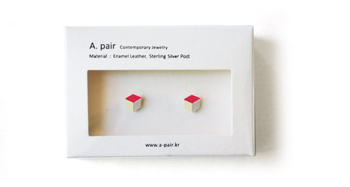 Enamel Leather Earrings, pink, ivory, silver
