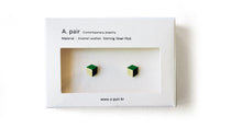 Load image into Gallery viewer, Enamel Leather Earrings, green, ivory, black