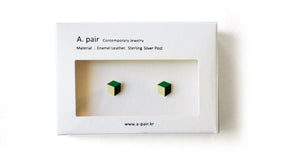 Enamel Leather Earrings, green, ivory, black