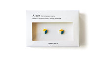 Load image into Gallery viewer, Enamel Leather Earrings, yellow, ivory, teal
